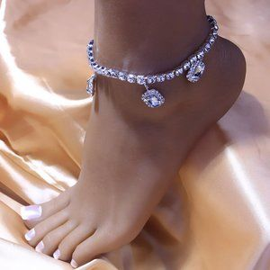 Womens Crystal Charm Anklet